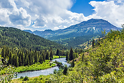 The Greys River winding through the mountains of the Wyoming Range and The Salt River Range.