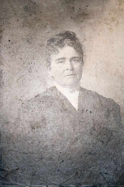1900s deteriorating head and shoulder portrait of an adult woman
