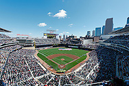 A general view of Target Field during the national anthem before  an exhibition game between the St. Louis Cardinals and the Minnesota Twins on April 3, 2010 in Minneapolis, Minnesota.