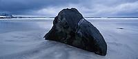 Boulder at Skagsanden beach, Flakstad, Flakstadøy, Lofoten islands, Norway