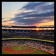 An Instagram of a sunset as seen from Target Field in Minneapolis, Minnesota.