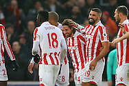 Joe Allen of Stoke City (c) celebrates with his teammates after scoring his teams 2nd goal. Premier league match, Stoke City v Leicester City at the Bet365 Stadium in Stoke on Trent, Staffs on Saturday 17th December 2016.<br /> pic by Chris Stading, Andrew Orchard sports photography.