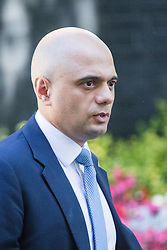 Downing Street, London, July 19th 2016. Communities and Local Government Secretary Sajid Javid leaves the first full cabinet meeting since Prime Minister Theresa May took office.