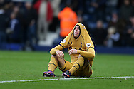 Vincent Janssen of Tottenham Hotspur reacts in frustration  at full time after his team only manage a 1-1 draw.  Premier league match, West Bromwich Albion v Tottenham Hotspur at the Hawthorns stadium in West Bromwich, Midlands on Saturday 15th October 2016. pic by Andrew Orchard, Andrew Orchard sports photography.