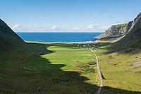 View towards Unstad, Lofoten Islands, Norway
