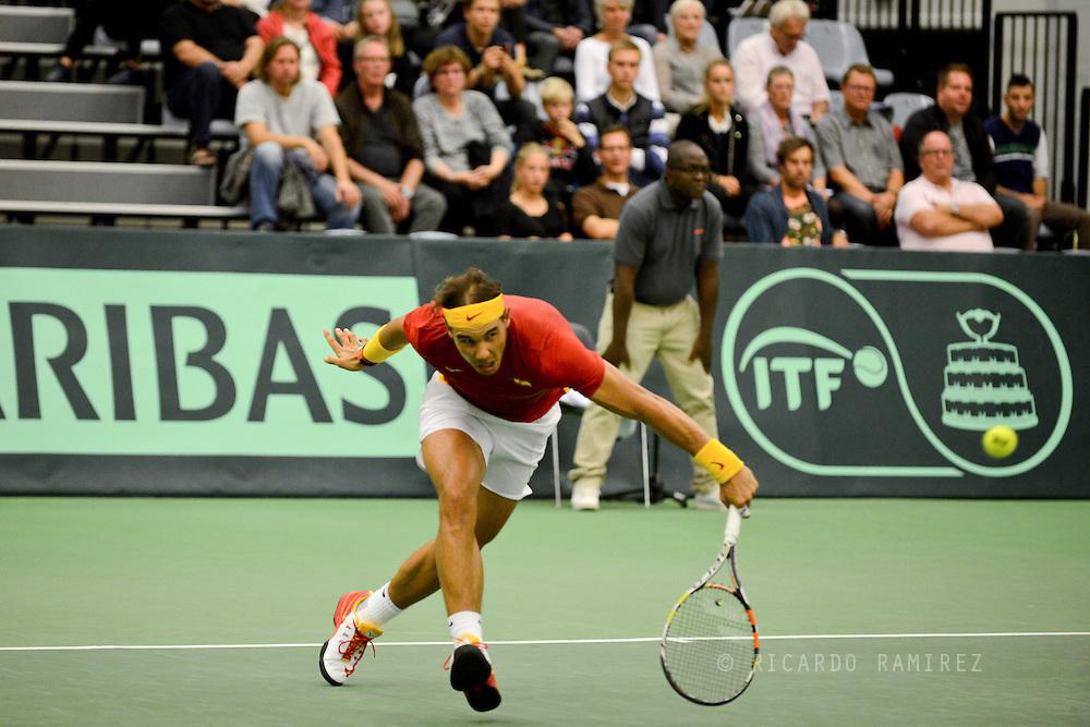 18.09.2015. Odense, Denmark. <br /> Rafael Nadal of Spain returns a shot during his Davis Cup match against Mikael  Torpegaard of Denmark.<br /> Photo: © Ricardo Ramirez.