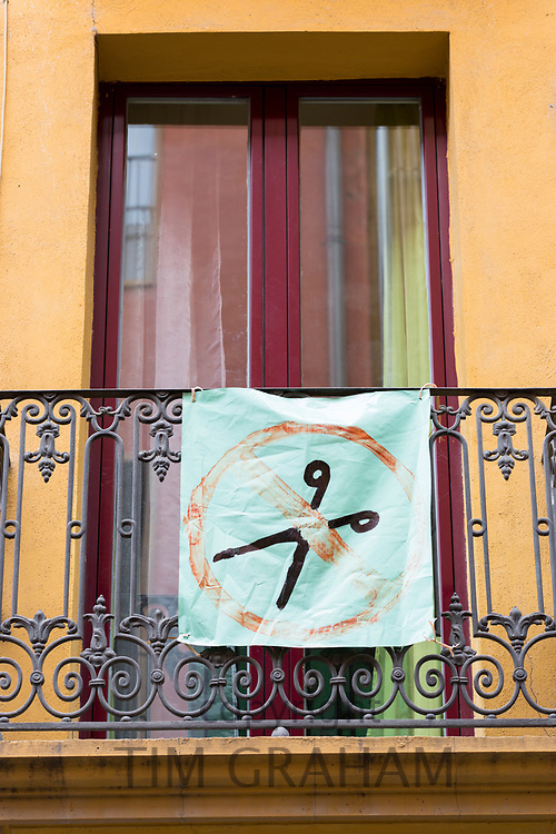 Protest poster for No Cuts in Calle de Curia in Pamplona, Navarre, Northern Spain