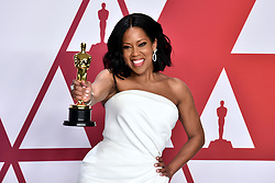 Regina King with her best supporting actress Oscar for If Beale Street Could Talk in the press room at the 91st Academy Awards held at the Dolby Theatre in Hollywood, Los Angeles, USA.