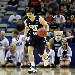 Mar 24, 2011; New Orleans, LA; Brigham Young Cougars guard Jimmer Fredette (32) during the first half of the semifinals of the southeast regional of the 2011 NCAA men's basketball tournament against the Florida Gators at New Orleans Arena.  Mandatory Credit: Derick E. Hingle
