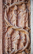 door pillaster relief sculptures on the Romanesque Baptistery of Parma, circa 1196, (Battistero di Parma), Italy .<br /> <br /> If you prefer you can also buy from our ALAMY PHOTO LIBRARY  Collection visit : https://www.alamy.com/portfolio/paul-williams-funkystock/romanesque-art-antiquities.html<br /> Type -     Parma    - into the LOWER SEARCH WITHIN GALLERY box. <br /> <br /> Visit our ROMANESQUE ART PHOTO COLLECTION for more   photos  to download or buy as prints https://funkystock.photoshelter.com/gallery-collection/Medieval-Romanesque-Art-Antiquities-Historic-Sites-Pictures-Images-of/C0000uYGQT94tY_Y