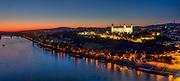 Bratislava on the Danube in the sunset