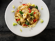 Yellow Oyster mushroom stir fry with noodles, mange tout, red pepper, spring onions and start anise