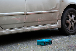 © Licensed to London News Pictures. 04/01/2020. London, UK. A medical kit near car with dents on Charteris Road, near the junction with Lennox Road, Finsbury Park in north London. Police launch a murder investigation following a death of a man in his 30s on Friday 3 January 2020. Police were called at approximately 6.50pm to reports of a man stabbed and the he was pronounced dead at the scene just after 7.30pm.  Photo credit: Dinendra Haria/LNP