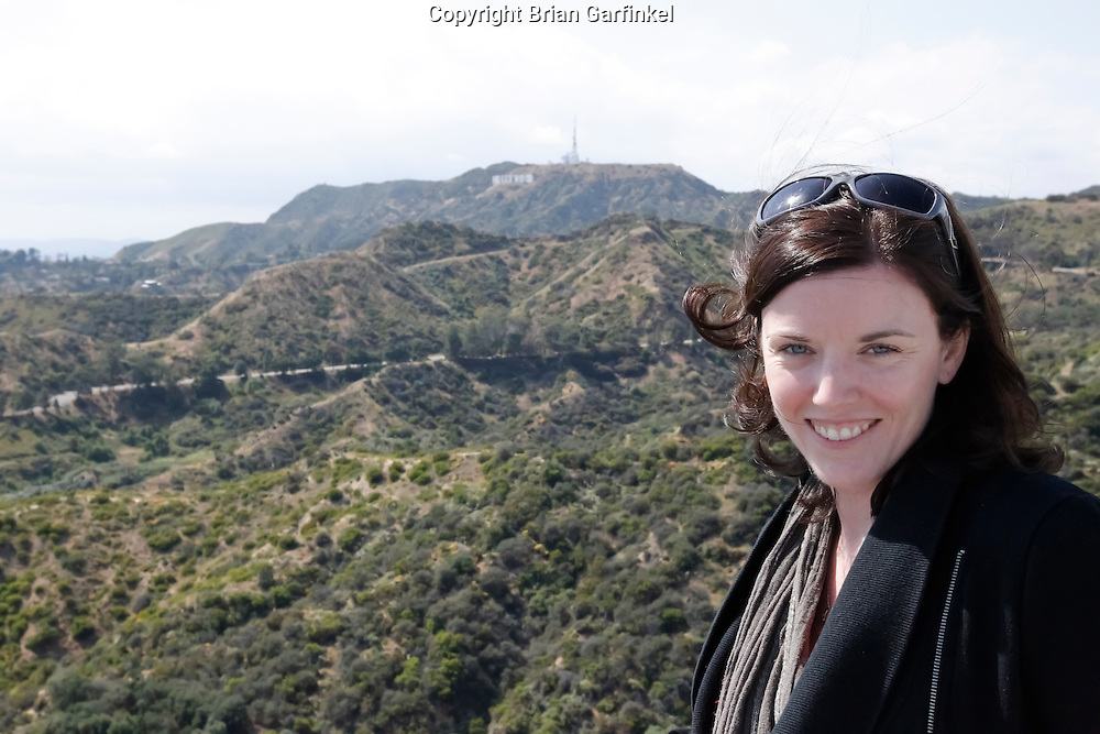 Allison poses for a picture in front of the Hollywood sign in Griffith Park, Los Angeles on Saturday, May 9th, 2011.