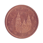 2 Euro Cents copper coin (Spain)