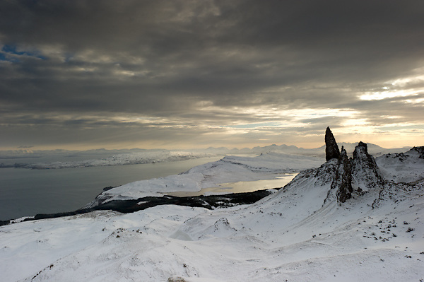Storr, Old man of Storr and the Isle of Raasay, Isle of Skye, Scotland.