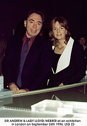 SIR ANDREW & LADY LLOYD-WEBBER at an exhibition in London on September 24th 1996.LSG 23