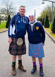 Glasgow, UK. 29 April, 2018. Start of Kiltwalk 2018 at Glasgow Green in Glasgow. Major charity fundraising walk is taking place in Scotland supported by The Hunter Foundation. Route is 23 Miles and ends at Balloch. Pictured; left Doddie Weir and right Tom Hunter.