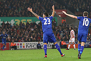 Leonardo Ulloa of Leicester City celebrates after scoring his teams 1st goal. Premier league match, Stoke City v Leicester City at the Bet365 Stadium in Stoke on Trent, Staffs on Saturday 17th December 2016.<br /> pic by Chris Stading, Andrew Orchard sports photography.
