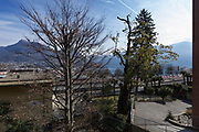 View of apartment with terrace on the lake in Switzerland. Blue sky