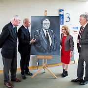 24.03.2017            <br /> Limerick Civic Trust, Marjorie Daly commissioned Jim Kemmy Portrait unveiling by Jan O'Sullivan TD at the Kemmy Business School, University of Limerick. <br /> <br /> Pictured at the event were, Brian McLoughlin, Chair Limerick Civic Trust, David O'Brien, CEO Limerick Civic Trust,  Jan O'Sullivan, TD and Dr. Philip O'Regan, Dean of Kemmy Business School, UL. Picture: Alan Place