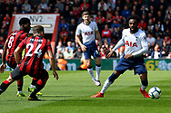 Danny Rose (3) of Tottenham Hotspur is closed down by Bournemouth players during the Premier League match between Bournemouth and Tottenham Hotspur at the Vitality Stadium, Bournemouth, England on 4 May 2019.
