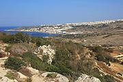 View to Mellieha Bay, Marfa peninsula, Malta over Ghadira nature reserve
