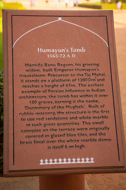 Sign describing the mausoleum and history of the Mughal Emperor Humayun
