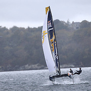 NEWPORT, RHODE ISLAND- OCTOBER 22:  The Russian team of Kirill Elchaninov and Semyon Sukhno in action during the Red Bull Foiling Generation World Final 2016 on October 22, 2016 in Narragansett Bay, Newport, Rhode Island. (Photo by Tim Clayton/Corbis via Getty Images)