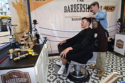 July 4, 2017 - Vittel, France - NAESEN Oliver (BEL) Rider of Team AG2R La Mondiale visits the barbershop (Credit Image: © Panoramic via ZUMA Press)