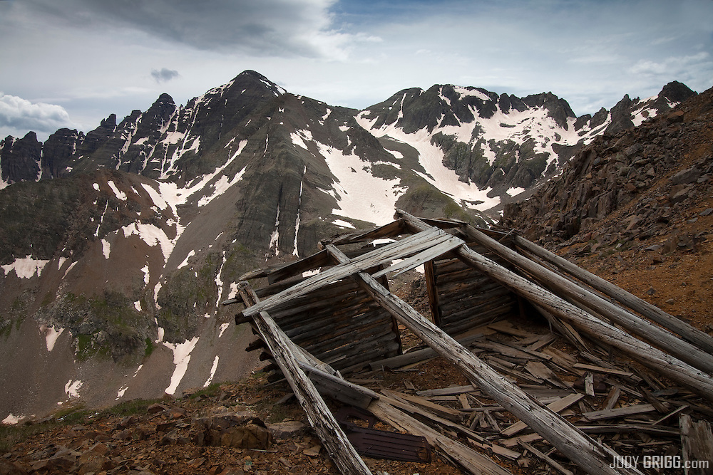 Stormy weather receeds from Castle Peak in the Elk mountains of Colorado.
