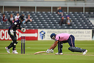 Joe Burns of Middlesex narrowly avoids being run out during the NatWest T20 Blast South Group match between Gloucestershire County Cricket Club and Middlesex County Cricket Club at the Bristol County Ground, Bristol, United Kingdom on 15 May 2015. Photo by Shane Healey.