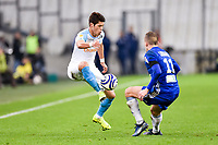 Hiroki Sakai of Marseille and Dimtri Lienard of Strasbourg during the French League Cup match between Marseille and Strasbourg at Stade Velodrome on December 19, 2018 in Marseille, France. (Photo by Alexandre Dimou/Icon Sport)