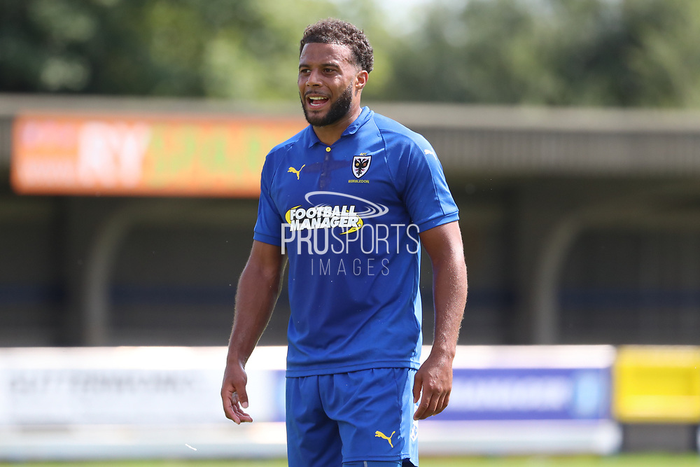 AFC Wimbledon midfielder Tom Soares (19) in the middle of the field waiting for a pass during the Pre-Season Friendly match between AFC Wimbledon and Queens Park Rangers at the Cherry Red Records Stadium, Kingston, England on 14 July 2018. Picture by Matthew Redman.