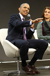 Former US President Barack Obama speaks during the Bill and Melinda Gates foundation's Goalkeepers 2017 at Jazz at Lincoln Center in New York.