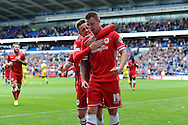 Anthony Pilkington of Cardiff city © celebrates with Craig Noone after he scores his sides 2nd goal. Skybet football league championship match, Cardiff city v Sheffield Wed at the Cardiff city stadium in Cardiff, South Wales on Saturday 27th Sept 2014<br /> pic by Andrew Orchard, Andrew Orchard sports photography.