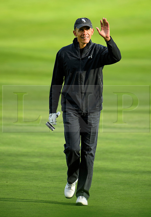© Licensed to London News Pictures. 23/04/2016. Chandler's Cross, UK. President of The United States of America, BARAK OBAMA, playing golf with British prime minister DAVID CAMERON at The Grove golf Course in Chandler's Cross, Hertfordshire. Photo credit: Ben Cawthra/LNP