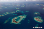 aerial view of patch reefs and cayes, inside Belize Barrier Reef, off Placencia, Southern Belize, Central America ( Caribbean Sea )
