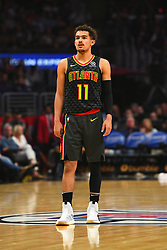January 28, 2019 - Los Angeles, CA, U.S. - LOS ANGELES, CA - JANUARY 28: Atlanta Hawks Guard Trae Young (11) looks on during a NBA game between the Atlanta Hawks and the Los Angeles Clippers on January 28, 2019 at STAPLES Center in Los Angeles, CA. (Photo by Brian Rothmuller/Icon Sportswire) (Credit Image: © Brian Rothmuller/Icon SMI via ZUMA Press)