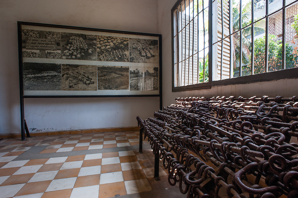 Iron shackles at Tuol Sleng Khmer Rouge Prison in Phnom Penh (Cambodia).
