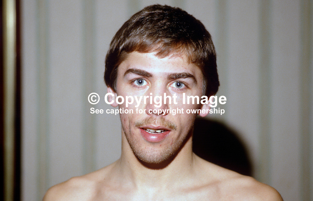 David Irving, Belfast, N Ireland, professional boxer, light welterweight, 19840042DI.<br /> <br /> Copyright Image from Victor Patterson, Belfast, UK<br /> <br /> t: +44 28 9066 1296 (from Rep of Ireland 048 9066 1296)<br /> m: +44 7802 353836<br /> e: victorpattersonbelfast@gmail.com<br /> <br /> www.images4media.com<br /> <br /> Please see my full Terms and Conditions of Use at https://www.images4media.com/p/terms-conditions - it is IMPORTANT that you familiarise yourself with them.<br /> <br /> Images used online incur an additional cost. This cost should be agreed in writing in advance. Online images must be visibly watermarked i.e. © Victor Patterson or that of the named photographer within the body of the image. The original metadata must not be deleted from images used online.<br /> <br /> This image is only available for the use of the download recipient i.e. television station, newspaper, magazine, book publisher, etc, and must not be passed on to a third party. It is also downloaded on condition that each and every usage is notified within 7 days to victorpattersonbelfast@gmail.com.<br /> <br /> The right of Victor Patterson (or the named photographer) to be identified as the author is asserted in accordance with The Copyright Designs And Patents Act (1988). All moral rights are asserted.