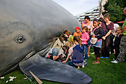 Children climbing into a model whale to hear stories, Potters Bar field, Thames Festival 08, along the southbank of the Thames. September 2008