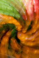 Swirling effect on fruit and vegetable displays at Pike Place Market in Seattle, Washington..