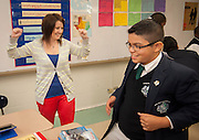 Rebecca Millhench teaches American history to 6th graders at Young Men's College Preparatory Academy April 26, 2013.