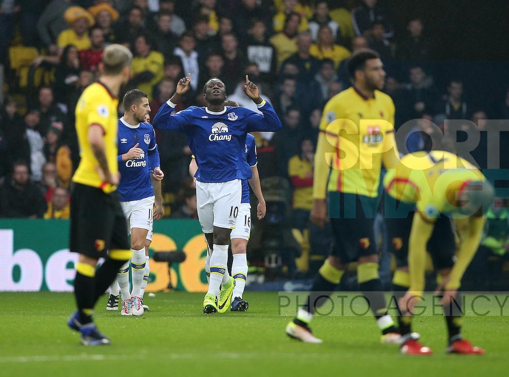Everton's Romelu Lukaku celebrates scoring his sides opening goal during the Premier League match at Vicarage Road Stadium, London. Picture date December 10th, 2016 Pic David Klein/Sportimage