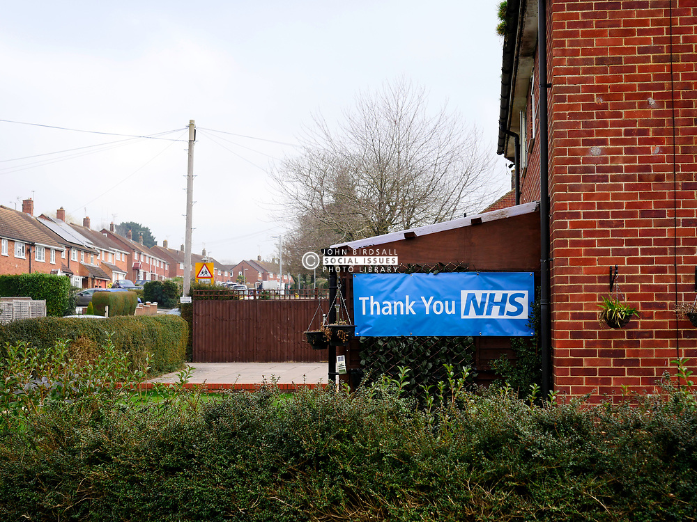 Thank you NHS banner on side of house during Coronavirus pandemic, Reading, UK, March 2021