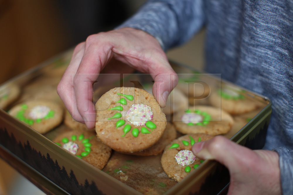 © Licensed to London News Pictures. 03/05/2015. London, UK. A campaigner shows off his Green party themed home-made biscuits before heading to a canvassing day with leader Natalie Bennett local Green candidate Caroline Russell (no pictured). Photo credit: LNP