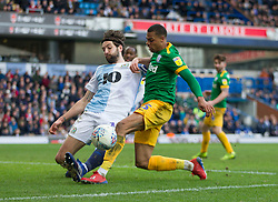 Lukas Nmecha of Preston North End (R) has a shot blocked by Charlie Mulgrew of Blackburn Rovers - Mandatory by-line: Jack Phillips/JMP - 09/03/2019 - FOOTBALL - Ewood Park - Blackburn, England - Blackburn Rovers v Preston North End - English Football League Championship