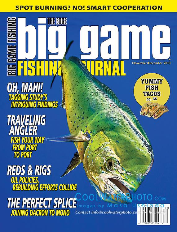 Big Game Fishing Journal Magazine, November/December 2013, magazine cover use, editorial, USA, Image ID: Mahi-Mahi-Dolphinfish-Dorado-0028-V
