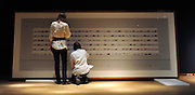 London News pictures. 08.02.2011. Two women inspect a piece of art by Andreas Gursky  entitled 'Untitled V, 1997'. It is excepted to fetch 800.000 - 1200.000 pounds at auction. A preview, today (Fri) of Christie's Auction House Post-War and Contemporary Art Evening Auction. The sale is expected to make a combined total of 46,246,000 to 66,447,000 when it is sold on 16th Feb 2011.. Picture Credit should read Stephen Simpson/LNP